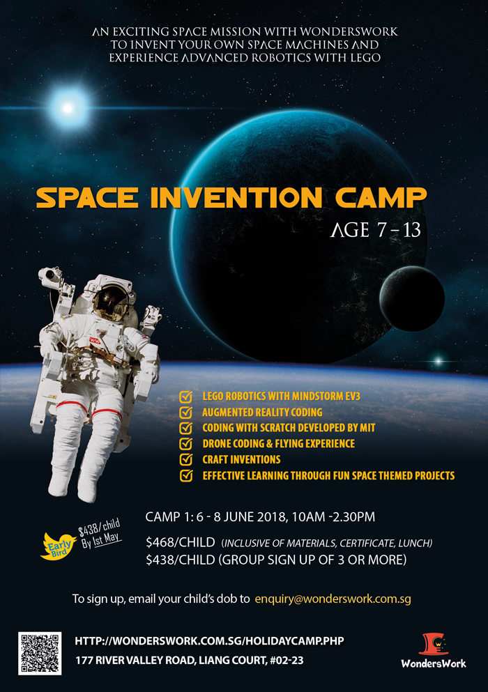 Space Invention Camp Lego Robotics Scratch Coding Drone STEAM School Holiday Summer Camp Program June 2018